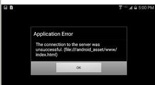 Application Error (file:///android_asset/www/index.html)