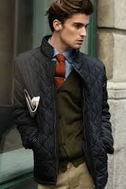 How to Wear a Tobacco Tie (198 looks) | Men's Fashion & A black quilted jacket and camel casual trousers is a smart combination to  add to your Adamdwight.com