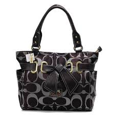 Bargain Price Coach Poppy Bowknot Signature Medium Coffee Totes UH3498
