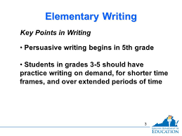 english sol institute elementary writing strand genre study  3 3 elementary writing persuasive writing begins in 5th