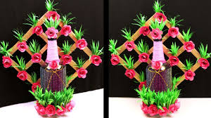 Recycled Flower Paper Best Out Of Waste Bottle Paper Flower Vase Recycled Bottle Crafts Cardboard And Paper Crafts
