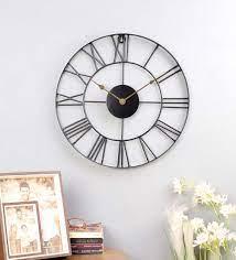 black colour metal wall clock