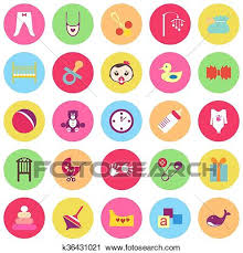 Baby Things Clipart Clipart Of Set Of Colorful Baby Items With Shadows K36431021
