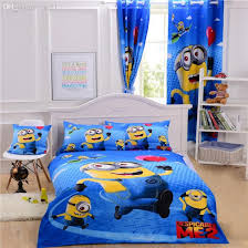 cartoon minions bedding sets dealble me bedding single kids bedclothes curtain duvet cover sheet pillow case double queen blue bedding black bedding