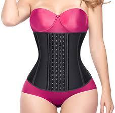 Yianna Women 4 Hooks Latex Waist Trainer Corset Body Shaper Sports Training Slimming Cincher Black Size S