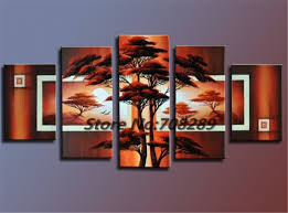 promotional 5pc the scenery large size hand painted oil painting canvas modern decorative abstract art wall classical gift