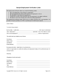 Employment Verification Letter Template Forms Fillable Printable