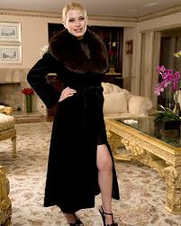 sheared mink coat with sable collar