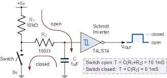 input interfacing circuits connect to the real world switch debounce circuit