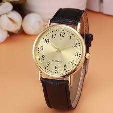 retro design clock watch men s black leather band