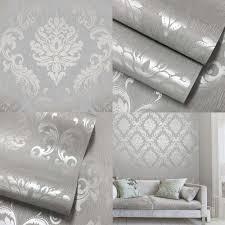 Silver Bedroom Wallpaper Henderson Interiors Chelsea Glitter Damask Wallpaper Soft Grey