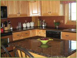 Dark Cabinets With Light Granite Countertops Island Kitchen