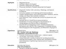 Cath Lab Nurse Sample Resume Resume Templates Nursing Sample Best Of Cosy Extern Examples Cath 16