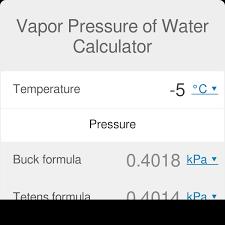 Water Vapor Pressure Chart Vapor Pressure Of Water Calculator Definition Formulas