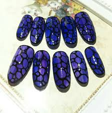 ヤフオク 495ネイルチップロングサイズ変更無料紫 青