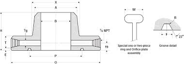 Dimensions Of Orifice Weld Neck Flanges Ring Type Joint
