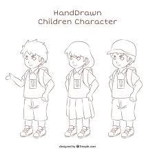 Varietà Di Bambini Disegnati A Mano Scaricare Vettori Gratis