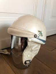 great vintage leather motorcycle helmet with detachable earpiece