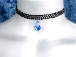 10mm sapphire blue swarovski crystal heart swirl trim choker necklace images of