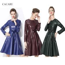 pu leather 50s dress autumn high fashion simplee dress runway faux leather dress f0199 with waist