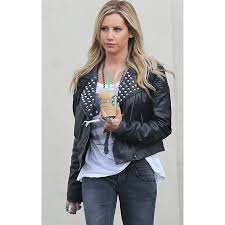 ashley tisdale studded black leather jacket
