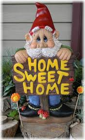 garden gnome garden statue ceramic hand painted home sweet home sign