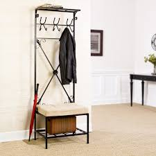 Entryway Storage Bench with Coat Rack Metal
