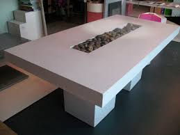 Diy Concrete Dining Table Top And White Wooden Sets Wood Tables