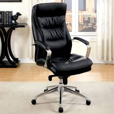 black furniture of america morra contemporary black faux leather office chair