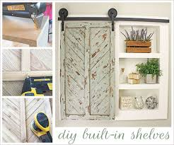 diy built in shelves with sliding barn door