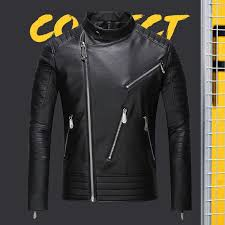 new mens designer leather jackets 2018 new black letter print collar coat motorcycle luxury brand jacket mens faux fur coats size m 3xl jackets for man coat