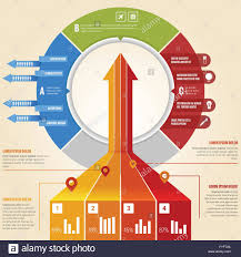 Business Arrow Infographic With 3d Look And Pie Chart Stock