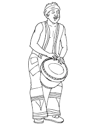 Small Picture African musician playing drum coloring page Download Free