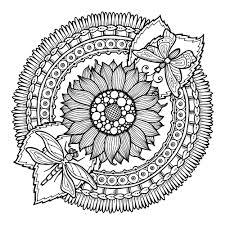 Mandala A Colorier Gratuit Tournesol Et Papillons Mandalas