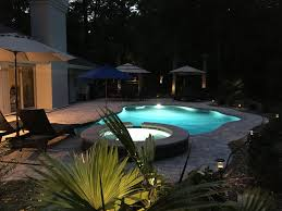 home swimming pools at night. Private Swimming Pool With Hot Tub At Night Home Pools