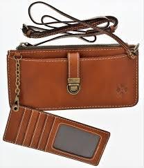 patricia nash heritage aso organizer leather cross wallet color tan