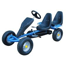 vidaxl co uk blue pedal go kart two seats blue pedal go kart two seats 1 2