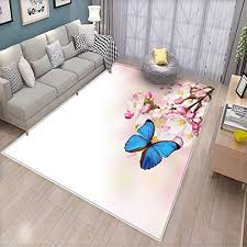 modern anti static area rugs blue erfly on spring cherry blossoms japanese flower white pink orchard nature children kids nursery rugs floor carpet blue