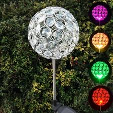 set of 2 4 w color changing crystal ball decorative outdoor solar powered led
