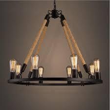 retro hemp rope chandelier loft style 6 8 lights american country vintage wrought iron light loft restaurant light retro chandelier chandelier loft vintage