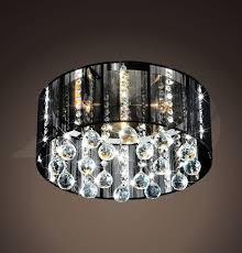jaelynn satin nickel black shade 5 light crystal ceiling mount lamp chandelier 17