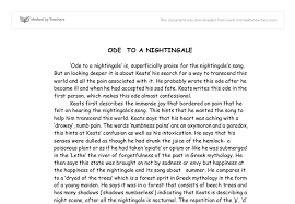 ode to a nightingale analysis a level english marked by  document image preview