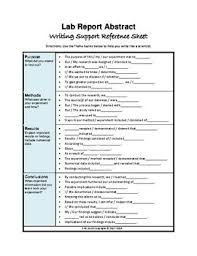 Refference Sheet Lab Report Abstract Writing Support Reference Sheet