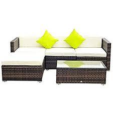 outsuuny 5pc rattan furniture set garden outdoor sectional sofa coffee table bo patio furniture metal frame w cushion pillows