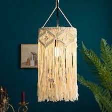 Boho Light Shade Amazon Com Blue Page Macrame Fringed Lamp Shade Handwoven