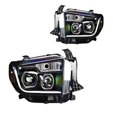 Tundra Projector Headlight Black With LED Daytime Running Lights ...
