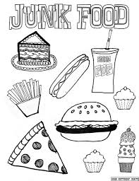 Junk Food 85by11 Coloring Page Printables Food Coloring