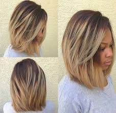 9dark brown root with blonde ombre long bob