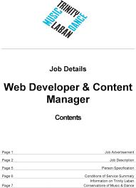 Music Manager Job Description Web Developer Content Manager Pdf