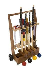 garden croquet set with wooden trolley